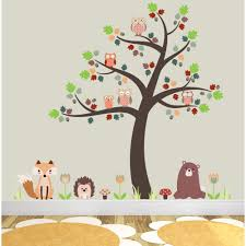 woodland wall stickers pastel woodland tree with owl wall fox owls and woodland critters nursery wall stickers
