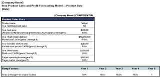 new product sales and profit forecasting model template