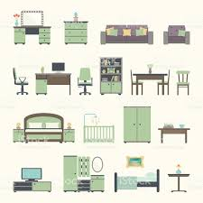 Furniture Icons For Floor Plans Furniture Interior Flat Icons Stock Vector Art 474462094 Istock