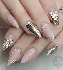 50 rhinestone nail art ideas metallic nail nail and rhinestone