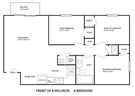 3 bedroom plan 6 milliron 2 3 bedrooms bobcat rentals athens ohio apartments