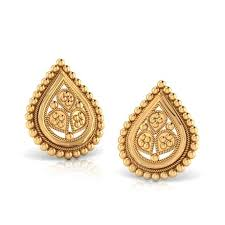 gold stud earings dewdrop gold stud earrings jewellery india online caratlane