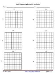 the hundredths grid decimals worksheet decimal pinterest