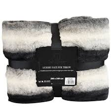Faux Fur Bed Throw Luxury Super Soft Blanket Throw Faux Fur Flannel Fleece Sofa Bed