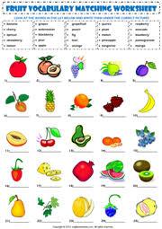 fruits matching exercise esl vocabulary worksheet fruits and