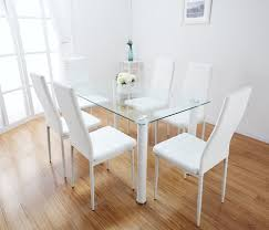lunar rectangle glass dining table set and 6 white faux leather