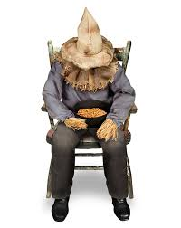 amazon com spirit halloween 4 5 ft sitting scarecrow animatronics