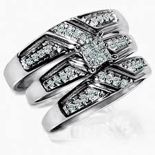 his and wedding sets cut real diamond trio set his and rings 3 0 33ct wedding