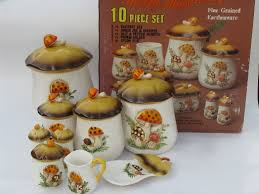 vintage canisters for kitchen retro 70s merry mushrooms canister and kitchen ware set vintage