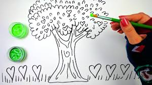 how to draw color and paint a big beautiful heart tree coloring