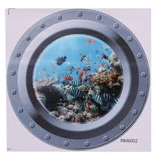 fish ship 3d ocean view porthole wall stickers decal sea cruise fish ship 3d ocean view porthole wall stickers