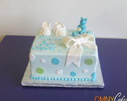 blue bear white booties baby shower cake cmny cakes