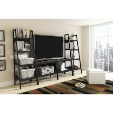Leaning Bookcase Woodworking Plans by Ameriwood Home Lawrence 4 Shelf Ladder Bookcase Bundle Black Set