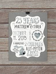 25th wedding anniversary gift 25 year anniversary gift silver wedding anniversary custom gift for
