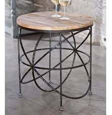 Outdoor Metal Side Table Alchemy Rustic Industrial Loft Wood Iron Orbit Round Side Table