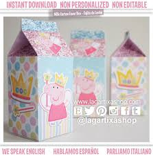 fairy peppa pig party milk carton favour box instant download