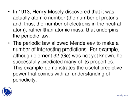 Mendeleev Periodic Table 1871 Periodic Trends In Atomic Properties The Importance Of The
