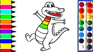 how to draw rainbow crocodile coloring page art colors for kids