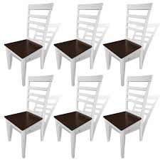 Solid Wood Dining Chairs 6 Pcs Brown White Solid Wood Dining Chairs Lovdock Com