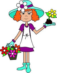 gardening clipart image or woman planting flowers in a