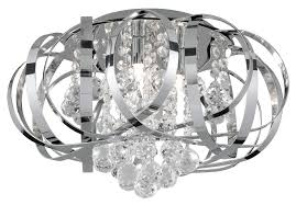 Chrome Ceiling Lights Uk Tilly Modern Chrome Ribbon Flush 3 Light Fitting 5973 3cc