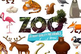 zoo 25 cartoon animal png hd pack graphics creative market