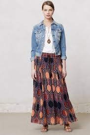 maeve clothing lyst maeve hexprint maxi skirt in orange