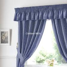 gingham ready made kitchen curtains in blue