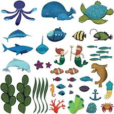 ocean wall decals peel stick under the sea wall sticker kit mini ocean wall decor peel stick under the sea wall kit