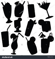 margarita silhouette vector silhouette various beverages stock vector 256368835