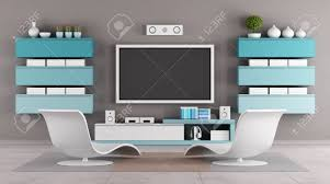 modern living room with tv wall unit rendering stock photo
