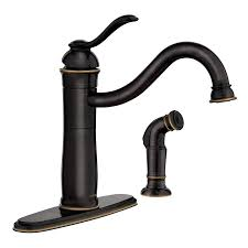 Kitchen Faucet With Side Spray Shop Moen Walden Mediterranean Bronze Microban 1 Handle Deck Mount