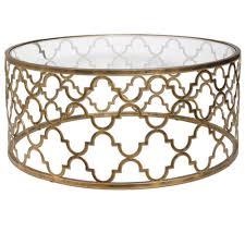 Gold Round Coffee Table Latest Round Gold Coffee Table Uttermost Quatrefoil Gold Coffee