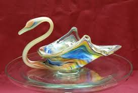 art glass svan ring holder images Rainbow glass swan vintage murano style hand blown centerpiece jpg