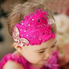 girl hair accessories 1pcs baby hair band feather flower hair bow band baby girl
