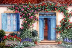houses rose door flowers attractions dreams paintings doors