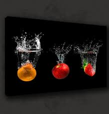 black fruits splash modern kitchen art canvas print poster many