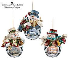 kinkade snow bell holidays snowman ornament collection