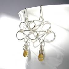 citrine earrings citrine earrings sterling silver wire wrapped zig zag swirl w