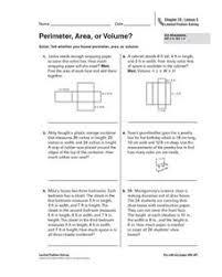 perimeter area or volume 5th grade worksheet lesson planet