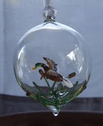crafted mallard in sphere blown glass ornament by