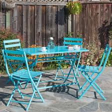 Folding Patio Bistro Set Ivy Bronx Trey Rectangular Steel Patio Folding 5 Piece Bistro Set