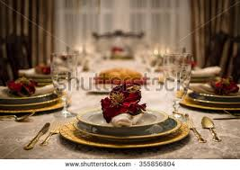 fancy dinner setting dining room table stock photo 355789790