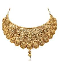 gold choker necklace set images Traditional gold plated kundan choker necklace set for women jpg