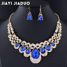 blue crystal necklace set images Buy jiayijiaduo wedding jewelry set navy blue jpg