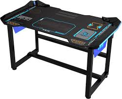 bureau pc intégré gaming table e blue