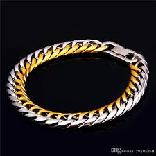 gold tone bracelet images 2018 men 39 s fancy two tone bracelet stainless steel men jewelry 18k jpg