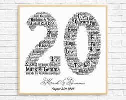 year wedding anniversary 20th anniversary etsy