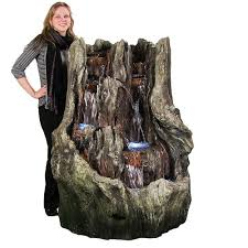 outdoor rock wooden log waterfall water fountain garden decor