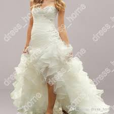high low ruffle wedding dress front back mermaid chapel white